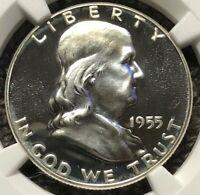 1955 Silver Proof Franklin Half Dollar  NGC PF67 Cameo ~ Rare Hi-Grade Proof