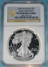 2014-W PROOF SILVER EAGLE NGC PF70 ULTRA CAMEO EARLY RELEASES SPECIAL STAR LABEL
