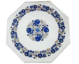 16 Inches Lapis Lazuli Flower Art Corner Table Top Octagon Marble Coffee Table