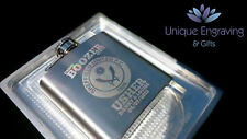 Personalised Photo / Text Engraved 3oz S-Steel Hip Flask - Fathers Day Gift!