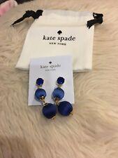 Kate Spade Linear Graduated Ball Drop Earrings Blue Dust Bag Jewelry Stud Gold T