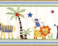 30' Feet Jungle Baby Lions Zebras Moneky Kenya Kids Line Wallpaper Wall Border