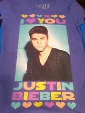 NWT GIRLS JUSTIN BIEBER PURPLE SHORT SLEEVE T-SHIRT WITH PICTURE SIZE XL