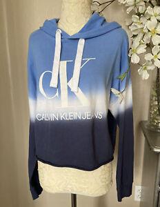 Calvin Klein Jeans Ladies' Hoodie Waterdrop Blue Sweatshirt-Size S