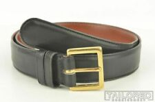 COACH Solid Black Mens Smooth Leather Brass Buckle Dress Belt - 34