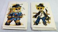 Vtg Lot 2 Blank Greeting Cards by Cape Shore Fall Scarecrows Big Eyes by Thayer