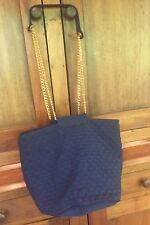 VINTAGE GUCCI SHOULDER BAG LARGE GG LOGO GOLD CHAIN QUILTED BLUE CLOTH POUCH