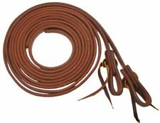 """5/8"""" X 8' Foot Oiled Harness Leather Split Reins w/ Water Loops USA Made 7403"""