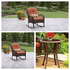3 Piece Orange Rocker Chair Table Bistro Patio Set Outdoor Seating Furniture
