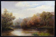 Grande huile sur toile periode impressionnisme : paysage d'automne signature
