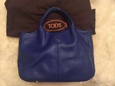 Authentic Tod's Large Tote Handbag Blue Leather RRP £870 Shoulder Bag