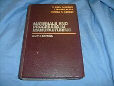 Materials and Processing Manufacturing Update by Degarmo  1984 HB / s1
