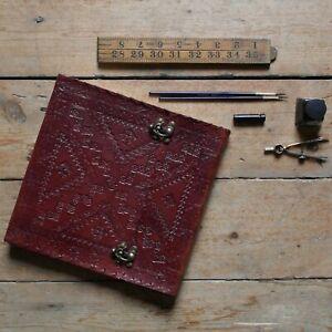 """Handmade Embossed 9"""" Real Leather Sketchbook Journal Diary Sketchbook Scrapbook"""