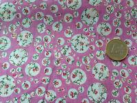 coupon de tissu  PUR coton FOND ROSE  FLEURI  ROND BLANC: 3.00 m ; F 5