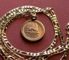 "Lion of Judah Sellasie Bronze Coin Pendant 18"" 18k Gold Filled 3mm Figaro Chain"