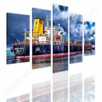 Ship In A Port by Split 5 Panels | Ready to hang canvas | 5 Panels Wall art HD