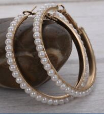 "White Faux Beaded Pearl on Gold Big  2"" Hoop Earrings"