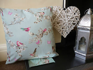 DUNELM BEAUTIFUL BIRDS, BUTTERFLIES CUSHION COVER. DUCK EGG BLUE. 100% COTTON.