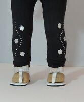 "Doll Clothes 18"" Leggings Black Flower Silver Fits American Girl Dolls"