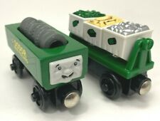 Thomas the Train Wooden Railway Sodor Recycling Cars Bins lot With Tire