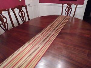 Beautiful Table Runner Stripes Gold Red Green Terra Cotta  12x96 Custom Made