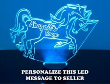 Unicorn Night Light Lamp - Personalized Name FREE Kids Room LED Night Lamp Gift