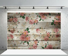7x5ft Background Vinyl Photo Backdrop Studio Prop Floral Printed Wood Board Show