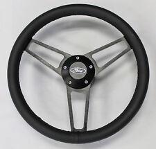 "70-77 Mustang Torino Steering Wheel 14 3/4"" Black Leather on Black Billet Spokes"