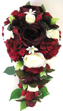 17 piece Wedding Bouquet package Bridal Silk Flowers BURGUNDY EGGPLANT CREAM set