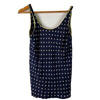 Saks Fifth Ave Women's Size Large 100% Silk Cami Tank Top Blue Polka Dot