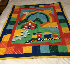 NEW Baby/Child's Colorful Handmade Crib Size Quilt.  Wash/Dry In Machines.