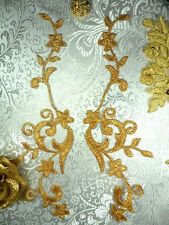 GB90 Embroidered Appliques Gold Metallic Floral Vine Mirror Pair Iron On 9""