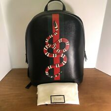 Authentic GUCCI Leather Kingsnake Snake Dome Backpack in Black Leather!