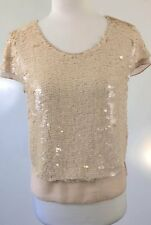 Portmans Peach Sequin Cap Sleeve Top Size 10