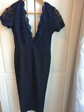 ASOS BNWT Club L Bodycon Wiggle Plunge Dress V Back Navy Size 8 Occasion Wedding