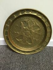Large antique or vintage round ornate brass tray or table top with Floral Design