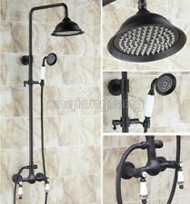 Black Oil Rubbed Brass Bathroom Shower Faucet Set Dual Handle Mixer Tap Crs511