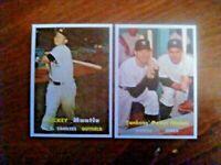 1957 Two card novelty RP lot.Mantle #95,Mantle/Berra Power Hitters #407.Mint.Fre