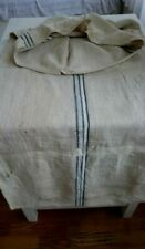 Antique vintage GRAIN SACK feedsack  blue stripes  hemp linen GRAINSACK