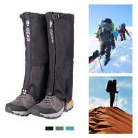 Black Crystal Hiking Ski Snow Gaiters Waterproof Breathable Nylon Mens Black Size Medium