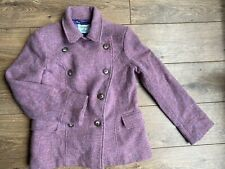 DICKINS & JONES PURPLE DOUBLE BREASTED Tweed Heritage Pea Coat 14 42