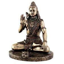 "SHIVA IN MEDITATION STATUE 9.75"" Hindu God Bronze Resin HIGH QUALITY Seated NEW"