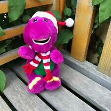"""Vtg '92 Barney The Purple Dinosaur Plush Christmas Doll 8"""" - Santa Hat & Scarf"""
