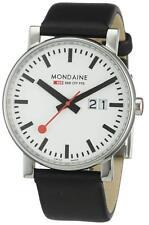 Mondaine EVO Big Date 40mm White Dial, Black Leather Strap A627.30303.11SBB