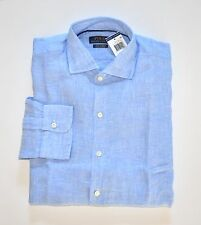 NWT Men's Ralph Lauren Linen Casual Long-Sleeve Shirt, Light Blue, M, Medium