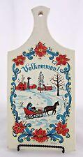 Vintage Berggren Swedish Wood Cutting Board Wall Hanging Velkommen! Winter