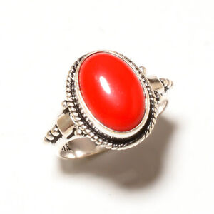 Amazing Red Coral Oval Gemstone 925 Sterling Silver Handmade Ring All Size