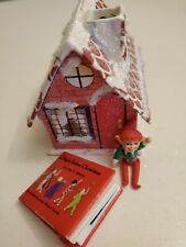 Miniature dollhouse ornament elf & night before Christmas book in house LOOK!
