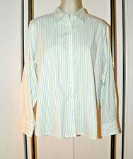 Lands End Shirt Womans 18 Button Front Striped Blue Yellow White Career Cotton