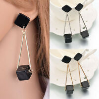 Luxury Women Fashion Black Square Drop Dangle Earrings Wedding Party Jewelry
